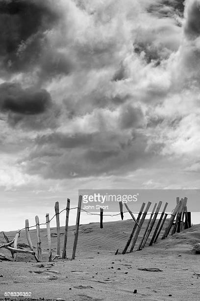 Broken fence in dune, South Shields, Tyne and Wear, England, Europe