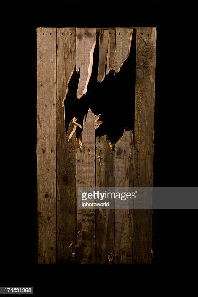 Broken fence panel