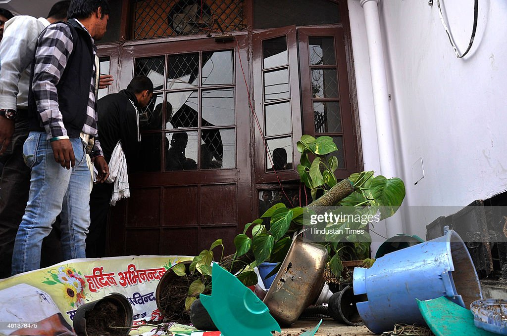 Broken flower pots at Aam Aadmi Party office at Kaushambi after it was vandalized by the workers of Hindu Rakshak Dal on January 8 2014 in Ghaziabad...