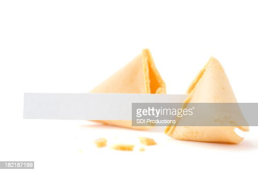Broken Fortune Cookie with Blank Paper