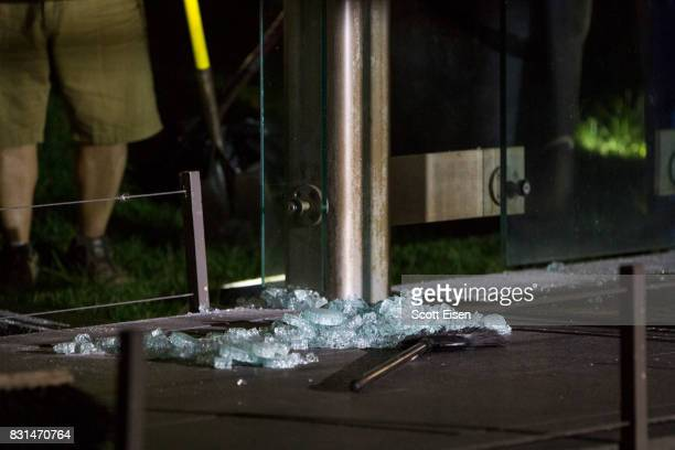 Broken glass at the New England Holocaust Memorial that was vandalized when a rock was thrown through a panel that was part of it on August 14 2017...
