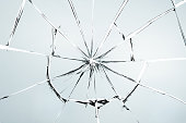 Broken glass isolated on white texture wallpaper background  object design crash accident concept