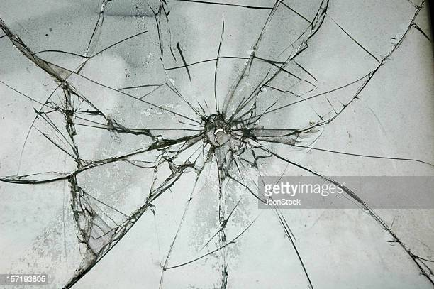 Broken Glass Window Bullet Shooting impact hole cracks