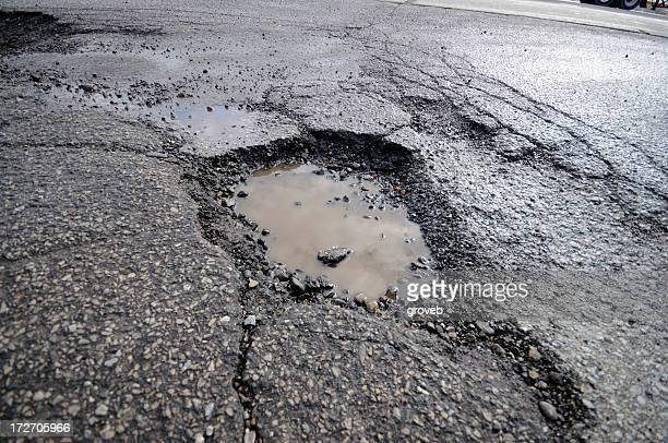 Broken gray asphalt pavement with pothole puddle