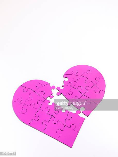 Broken heart jigsaw puzzle.