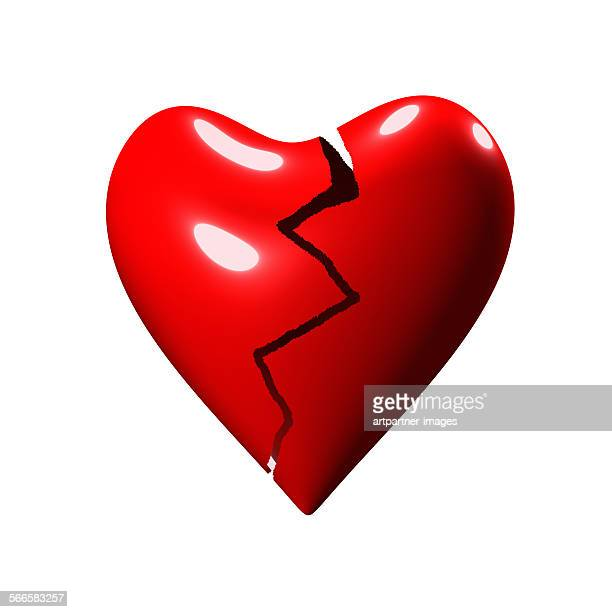 Broken heart on white background