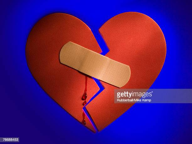 Broken heart with plastic strip