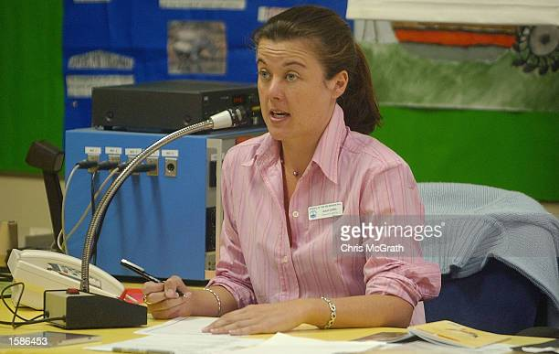 Broken Hill School of the Air Grade four teacher Averil Griffith delivers a reading lesson over the radio on October 24 2002 at Broken Hill in New...