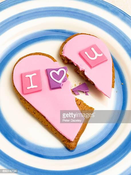 Broken I Love U gingerbread heart.