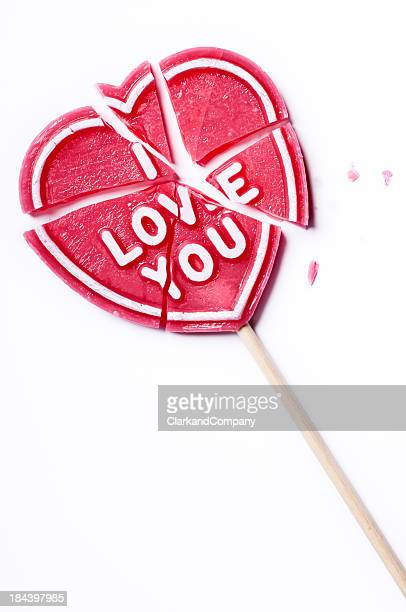 Broken I Love You Lollipop White Background