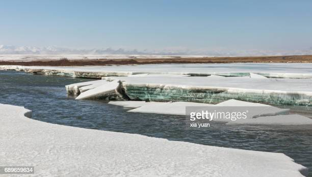 Broken ice sheets on lakeshore,Bayanbulak,China