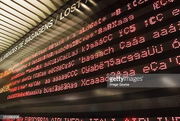 Broken quadro de informações no aeroporto