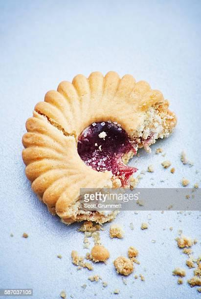 Broken jammy dodger biscuit