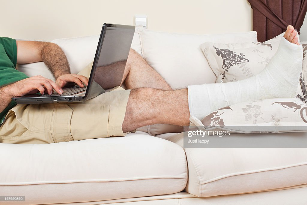 Broken Leg And Working In Home Office Stock Photo Getty Images