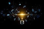 Broken light bulb on a black background - 3D Rendering