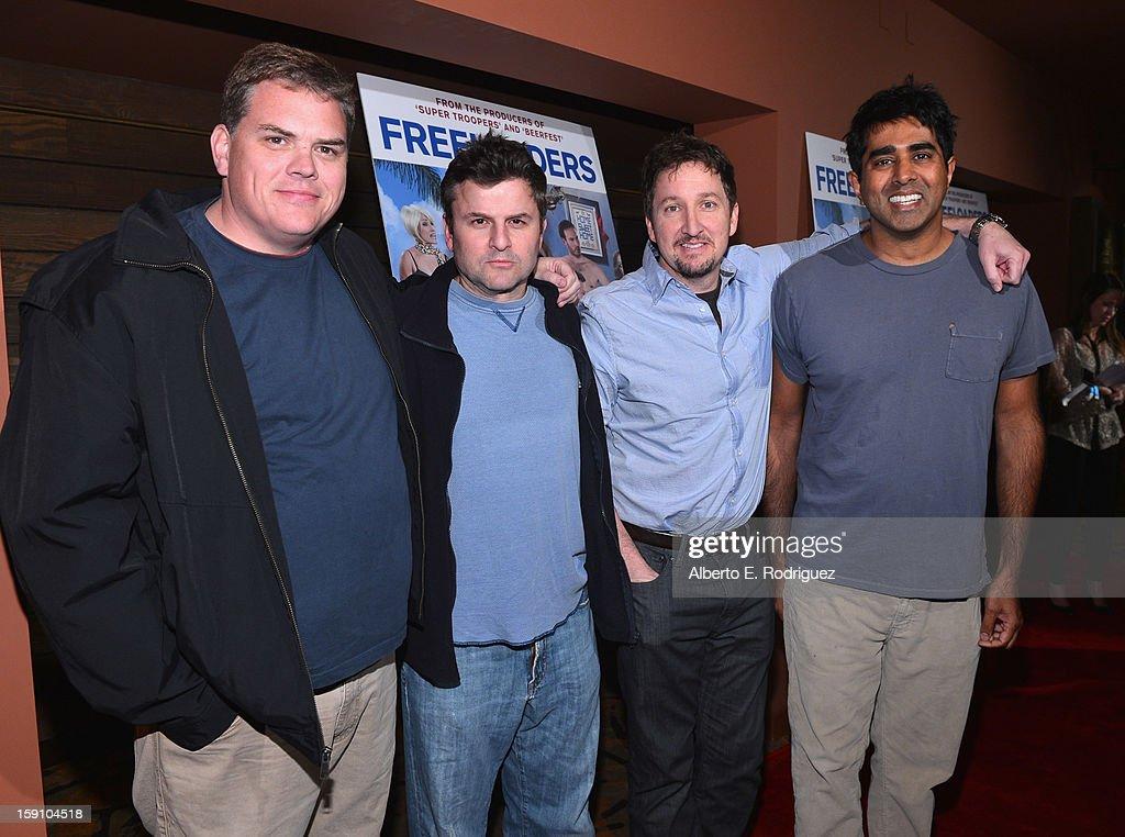 Broken Lizard members Kevin Heffernan, Steve Lemme, Paul Soter and Jay Chandrasekhar arrive to the premiere of Salient Media's 'Freeloaders' at Sundance Cinema on January 7, 2013 in Los Angeles, California.