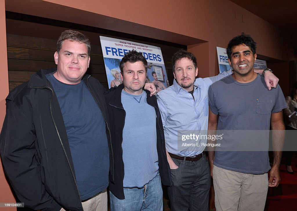Broken Lizard members Kevin Heffernan, Steve Lemme, <a gi-track='captionPersonalityLinkClicked' href=/galleries/search?phrase=Paul+Soter&family=editorial&specificpeople=2338240 ng-click='$event.stopPropagation()'>Paul Soter</a> and <a gi-track='captionPersonalityLinkClicked' href=/galleries/search?phrase=Jay+Chandrasekhar&family=editorial&specificpeople=2278493 ng-click='$event.stopPropagation()'>Jay Chandrasekhar</a> arrive to the premiere of Salient Media's 'Freeloaders' at Sundance Cinema on January 7, 2013 in Los Angeles, California.