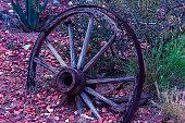 Broken old wagon wheel