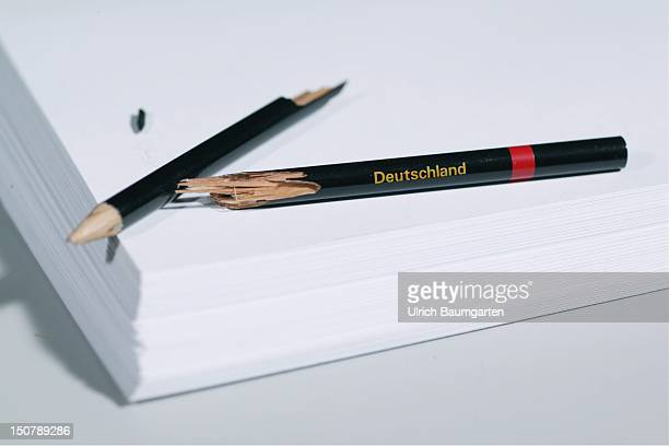 Broken pencil with the writing GERMANY Symbolic picture Pisa study ailing education system in Germany