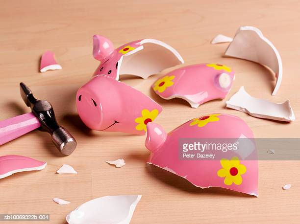 Broken piggy bank, studio shot