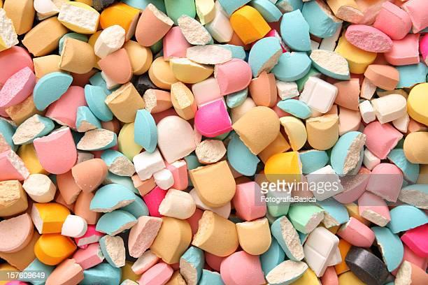 Broken pills background