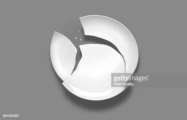 Broken plate on grey