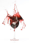 Broken red wine glass