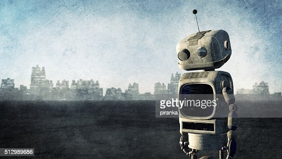 Broken robot before a destroyed city