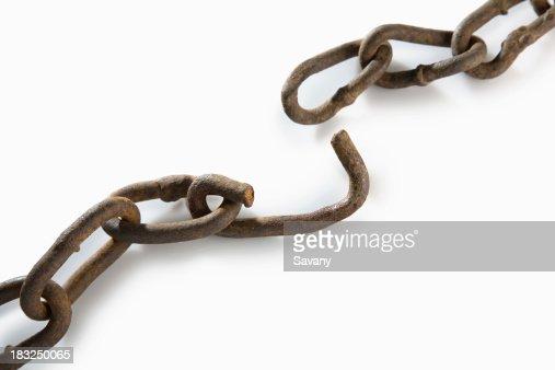 Broken rusted chain