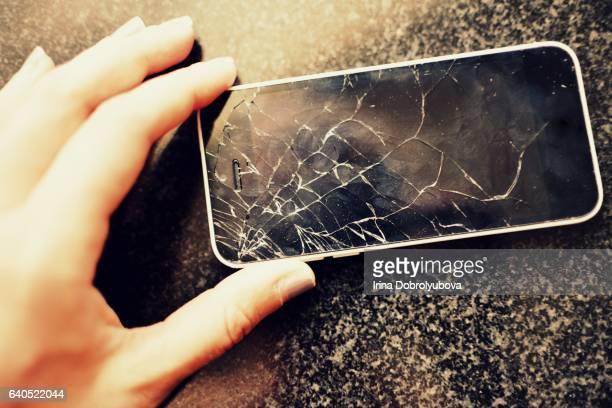 broken screen of smartphone