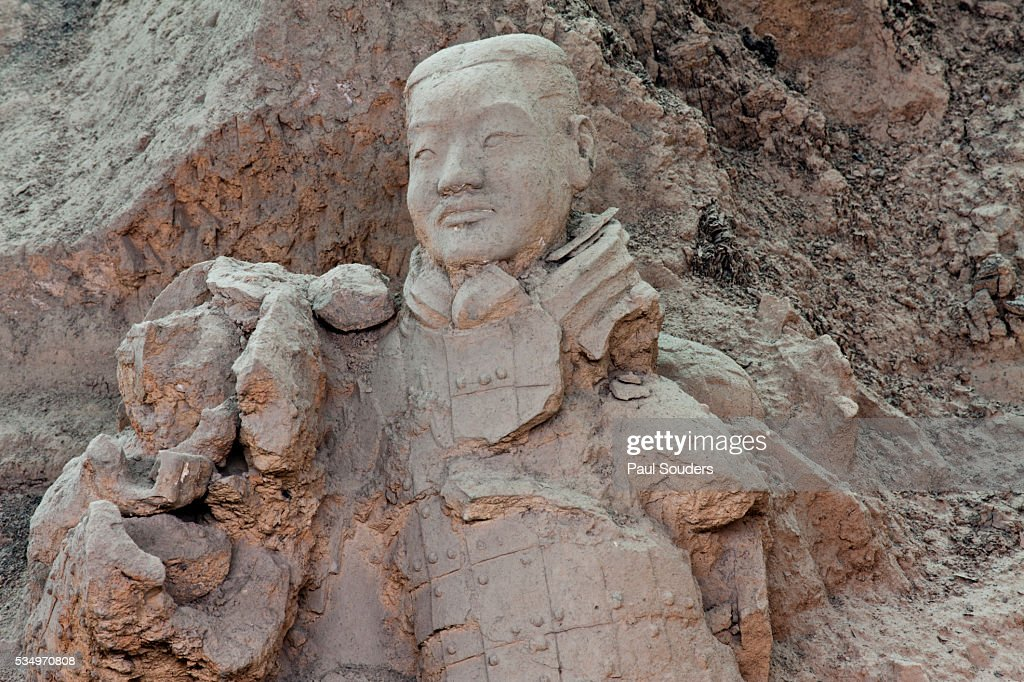 Broken Terracotta Soldier At Qin Shi Huangdi Tomb Stock Photo