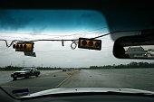 Broken traffic signals hang low after hurricane Ike along Highway 146 near La Porte