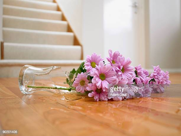 Broken vase of flowers on floor