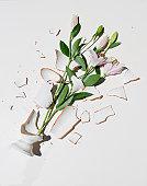 Broken Vase with Pink Lilies
