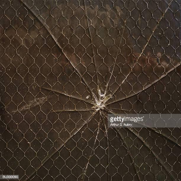 Broken Window, Chain Link and Cardboard