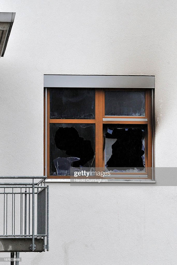 Broken windows are seen at the Caritas employment facility for handicapped where a fire killed 14 people on November 27, 2012 in Titisee-Neustadt, Germany. The fire was reportedly caused by an explosion at the facility, where approximately 120 people with disabilities are employed in light manufacturing.
