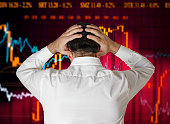 Man broker stock market crash crisis concept