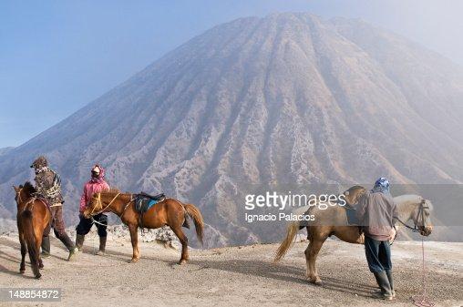 Bromo volcano and porters.
