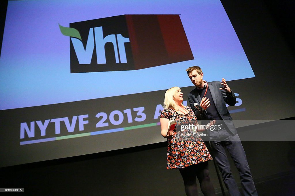 Brona C. Titley and Tony Cooke accept VH1 Development Deal during the 9th Annual New York Television festival at SVA Theater on October 26, 2013 in New York City.