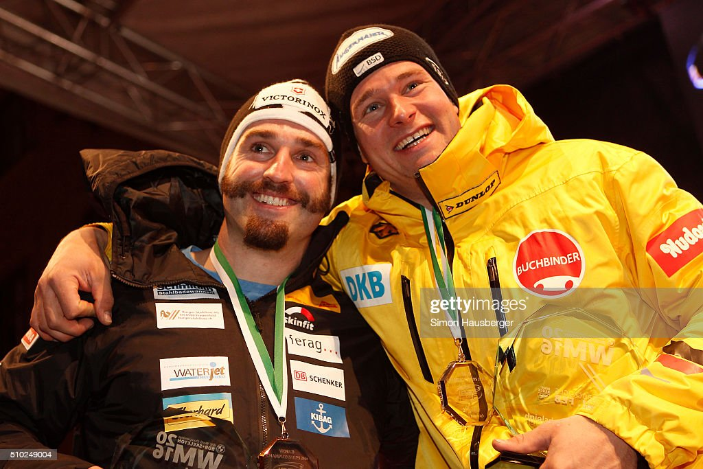 Bronce medalist Alex Baumann and Gold medalist Thorsten Margis during the award ceremony after the 2 Man's Bobsleigh at Day 3 of the IBSF World Championships for Bob and Skeleton at Olympiabobbahn Igls on February 14, 2016 in Innsbruck, Austria.