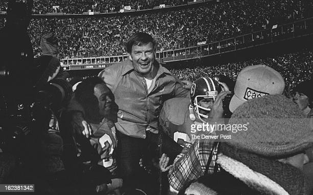 JAN 2 1978 JUL 4 1983 Bronco Coach Robert 'Red' Miller gets the traditional ride ***** The field on shoulders of Players Billy Thompson left Glenn...