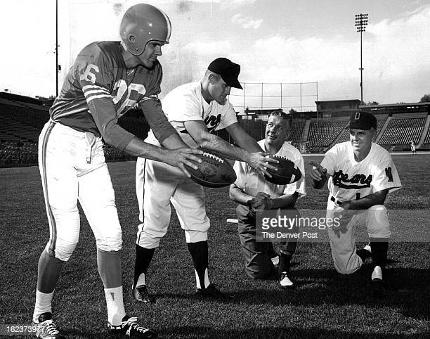 JUL 8 1965 Broncos Bears Players To Display Their Legwork Tom Janik Denver Broncos punter and outfielder Carroll Hardy of the Denver Bears former...