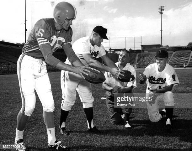 Broncos Bears Players To Display Their Legwork Tom Janik Denver Broncos punter and outfielder Carroll Hardy of the Denver Bears former University of...
