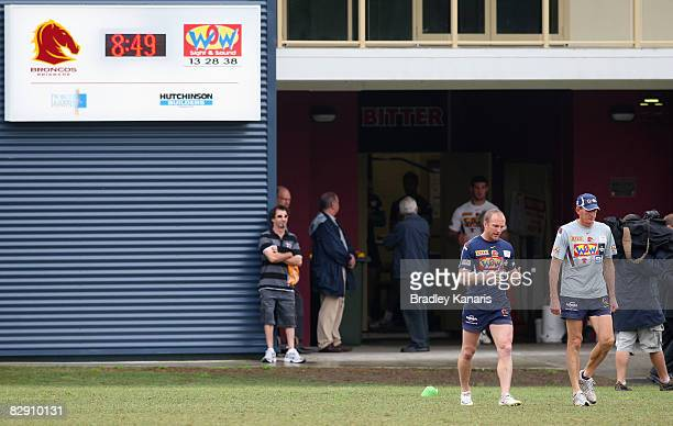 Broncos captain Darren Lockyer and coach Wayne Bennett walk out onto the field for a Brisbane Broncos training session at the Broncos training fields...