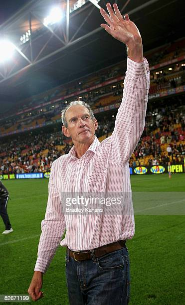 Broncos coach Wayne Bennett farewells fans after the round 26 NRL match between the Brisbane Broncos and the Newcastle Knights held at Suncorp...