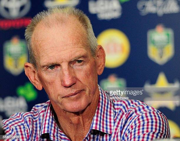 Broncos coach Wayne Bennett looks on at the at the post match media conference at the end of during the round 11 NRL match between the North...