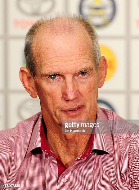 Broncos coach Wayne Bennett looks on during the post match media conference at the end of during the round 10 NRL match between the North Queensland...