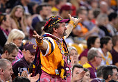 Broncos fan shows his disappointment during the round 20 NRL match between the Brisbane Broncos and the Penrith Panthers at Suncorp Stadium on July...