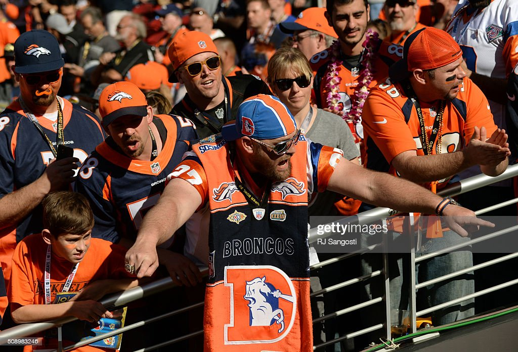 A Broncos fan shows his support for the players as they enter the field prior to the start of the game. The Denver Broncos played the Carolina Panthers in Super Bowl 50 at Levi's Stadium in Santa Clara, Calif. on February 7, 2016.