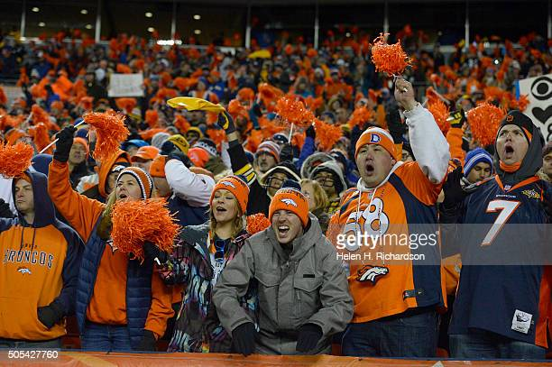 Broncos fans go crazy after the Denver Broncos defeated the Pittsburgh Steelers 2316 January 17 2016 in the Divisional Round Playoff game at Sports...